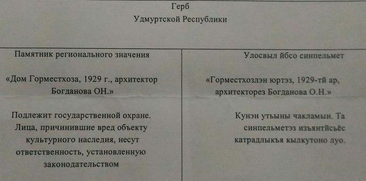 Перевод надписи на табличке предоставили и на удмуртском языке. Фото: © «ДЕНЬ.org»