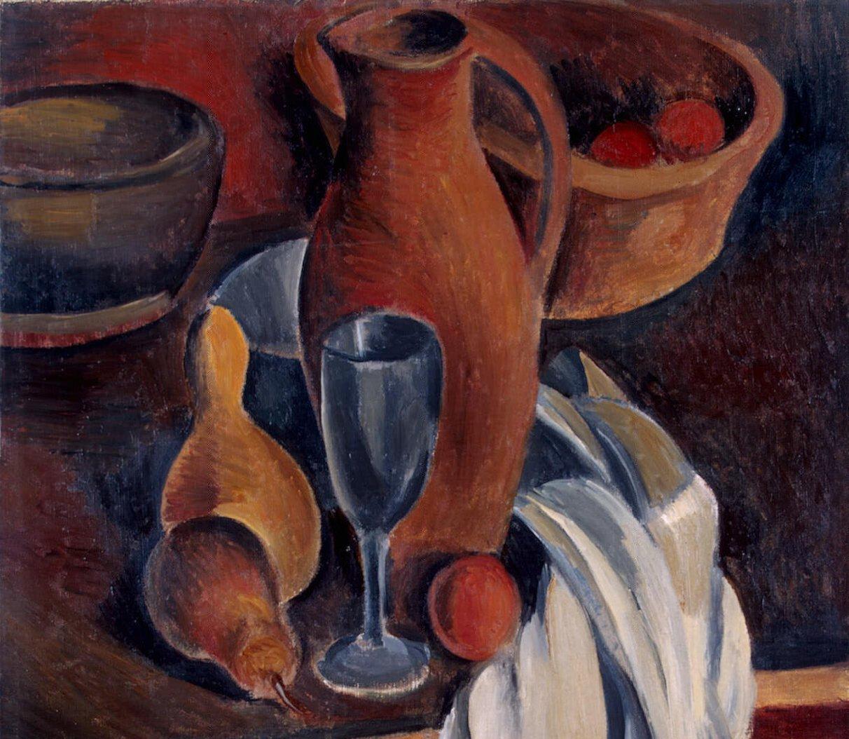 Фрагмент картины Андре Дерена «Глиняный кувшин, белая салфетка и фрукты»