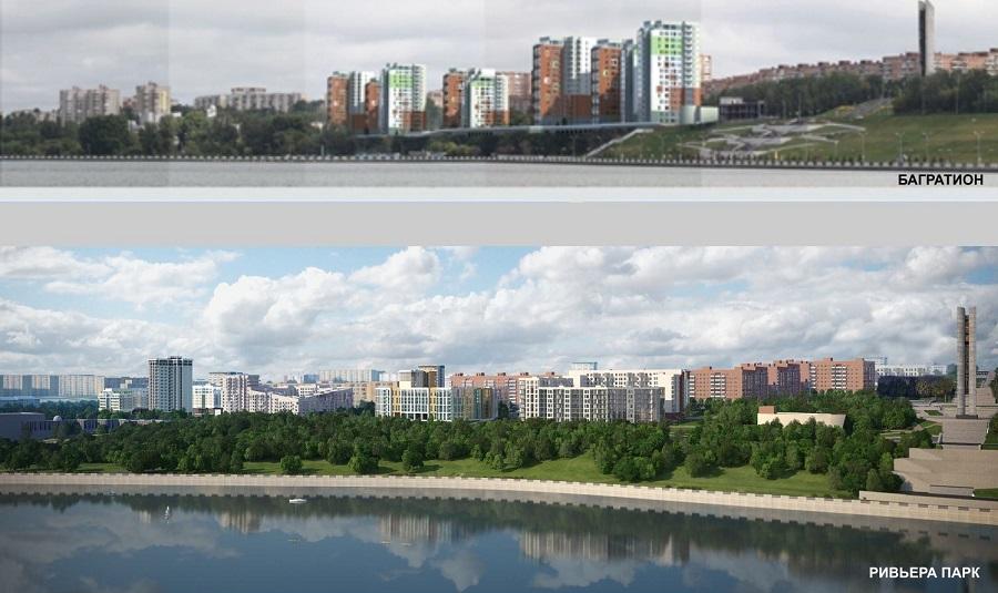 Массивные здания «Багратиона» замыкали на себе весь вид на Ижевск с акватории пруда. Кварталы «Ривьеры-Парка» гармонично вписаны в окружающее пространство. Фото: из презентации Данила Шевкунова.