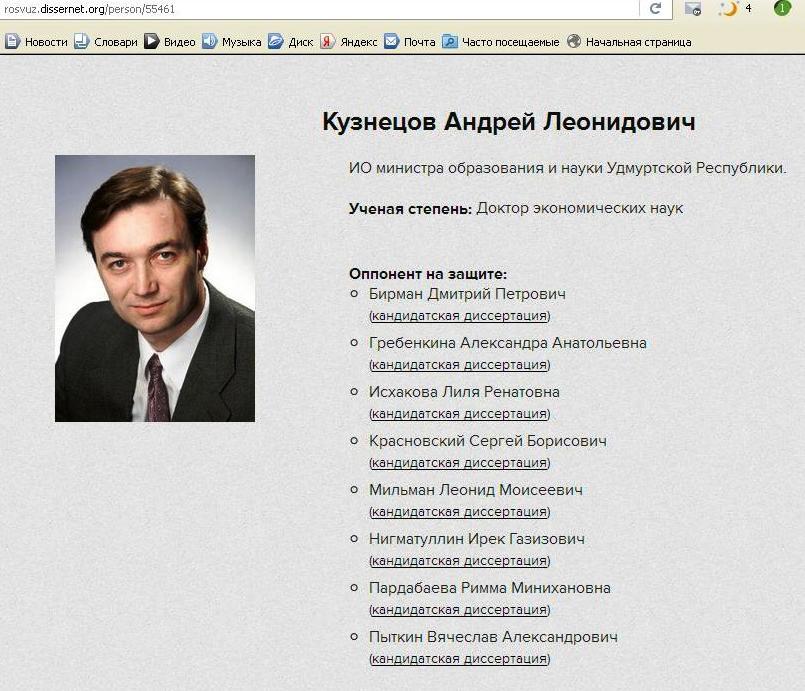 Скрин с сайта dissernet.org