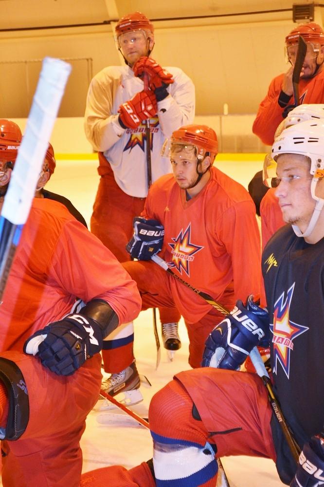 Хоккеисты слушают игровое задание от главного тренера. Фото: Александр Поскребышев