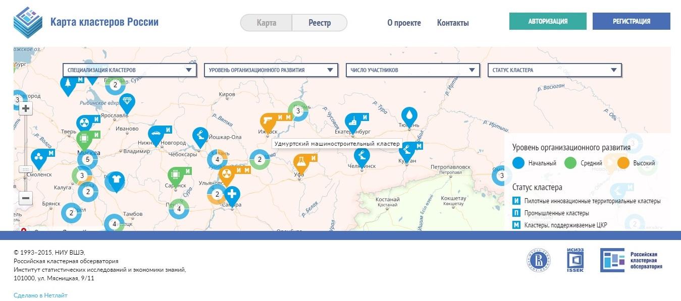 Судя по карте российской кластерной обсерватории, уровень организационного развития Удмуртского машиностроительного кластера высокий. Фото: map.cluster.hse.ru