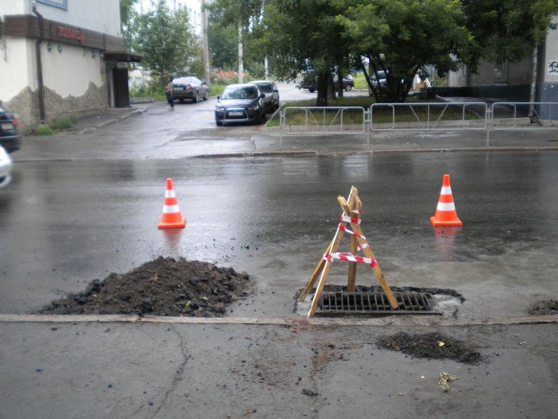 Ул. Советская, в рамках ремонта дороги делают ливневку. Фото ©День.org