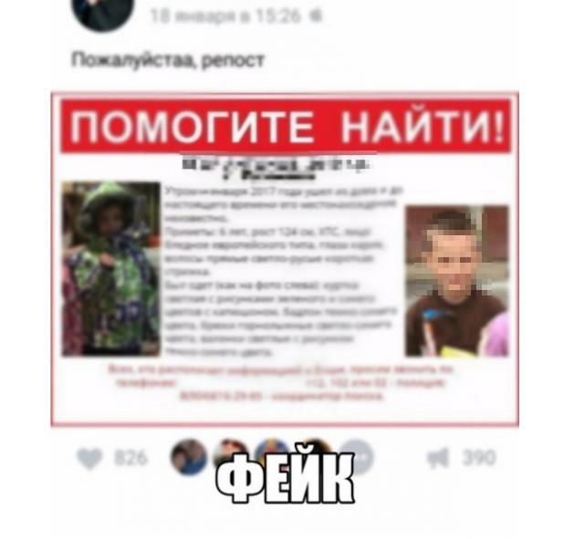 Пример фейкового объявления, распространяемого в соцсети. Фото: poiskdetei.ru