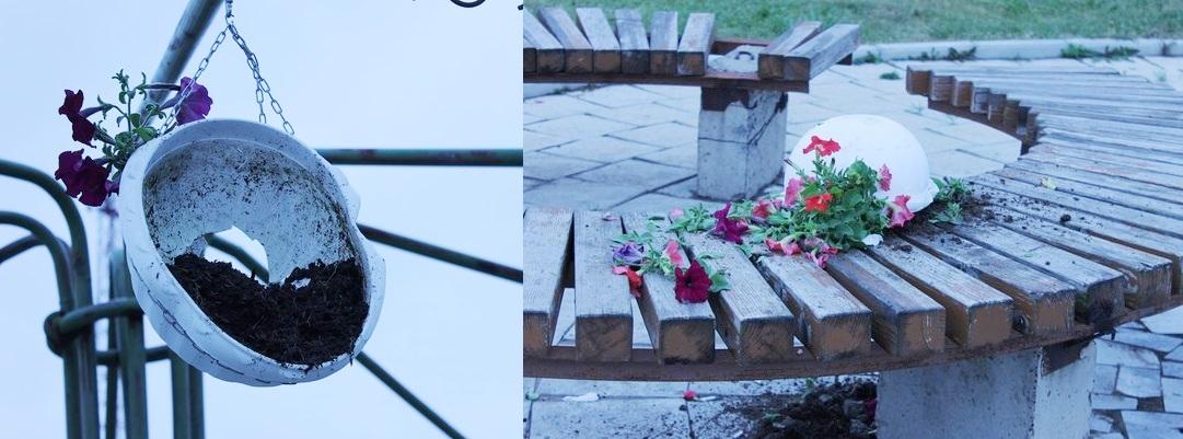 Пострадавшие вазоны с цветами в Кизнере. Фото: Гузель Родыгина