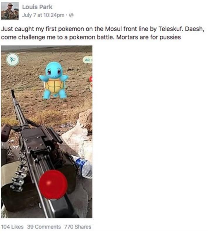 Американский солдат поймал покемона в Мосуле (Ирак). Фото: facebook.com