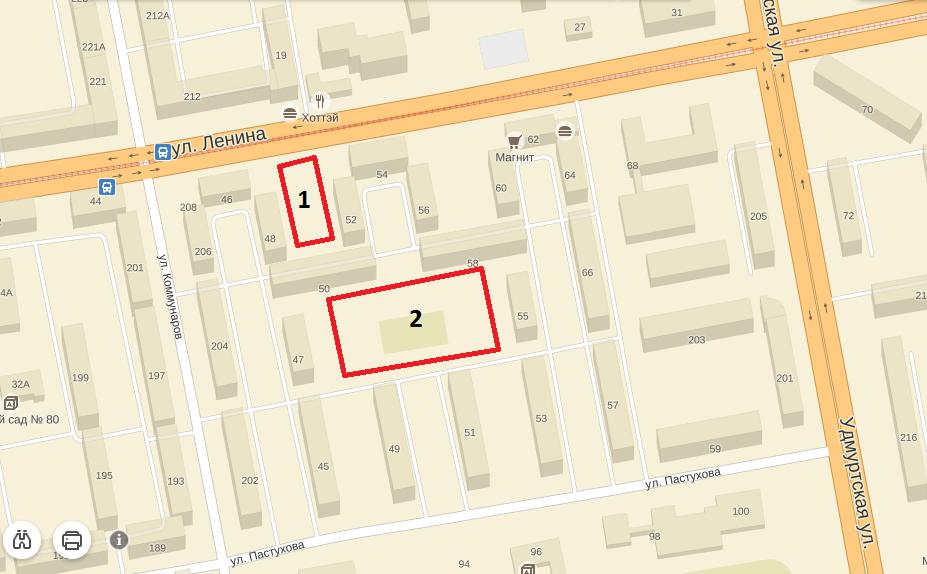 1. Площадка сквера, о судьбе которого сейчас спорят в суде. 2. Территория спортивной площадки и двора, которую хотят отдать по паркинг