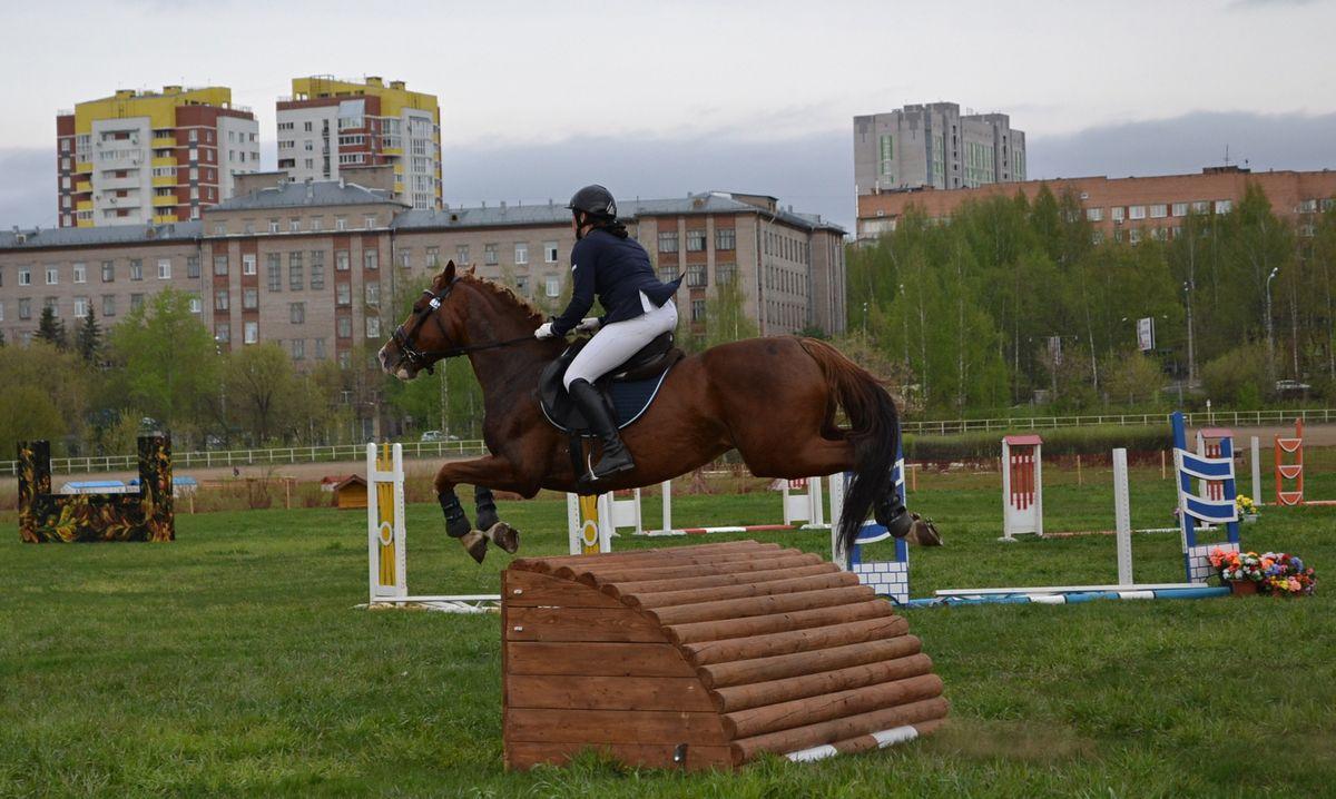 В классическом полете над барьерами лошади иногда играют в лошадок как будто из игрушечных крутящихся волчков. Фото: Александр Поскребышев