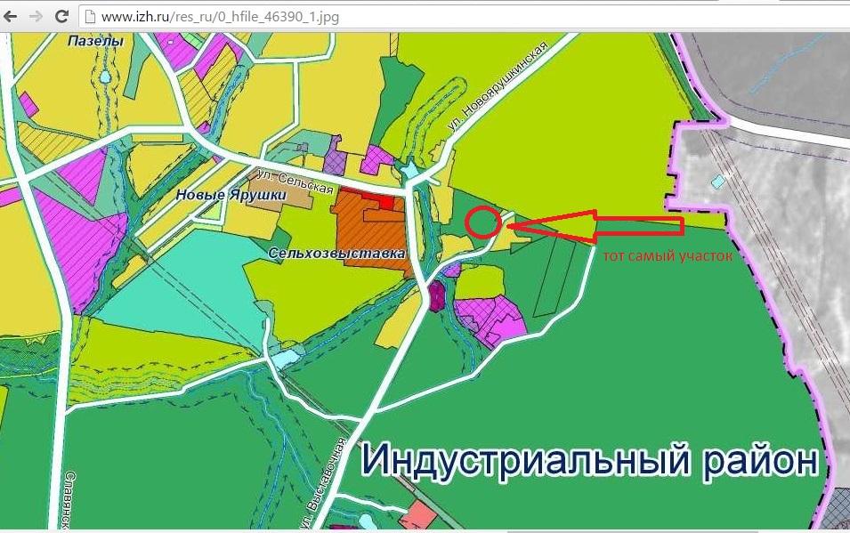 Фото: скриншот с карты функциональных зон по новой редакции Генплана Ижевска.