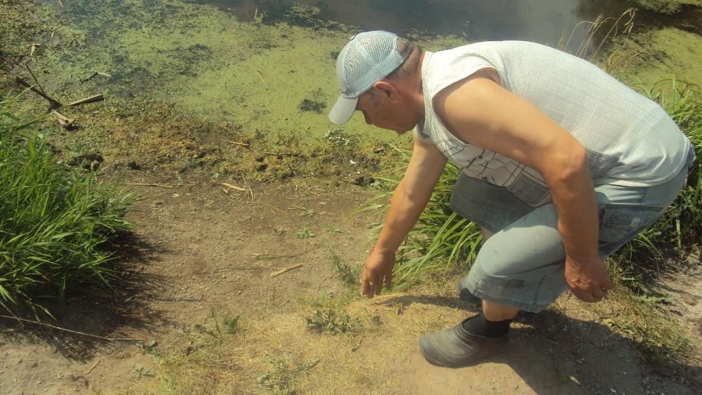 Местный житель Леонид Тугашев показывает, где раньше была вода. Фото ©«ДЕНЬ.org»