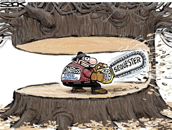 Вот так иллюстрируют бюджетное секвестирование в США, но там было еще и количественное смягчение. Фото: expertonline.kz